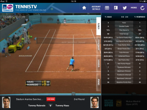 Screenshot from Tennis TV app