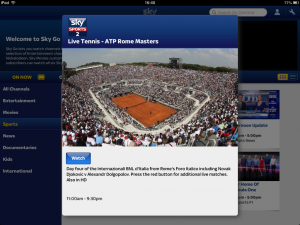 Screenshot of Sky Go iPad app