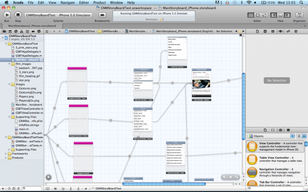 Xcode Storyboard canvas screenshot